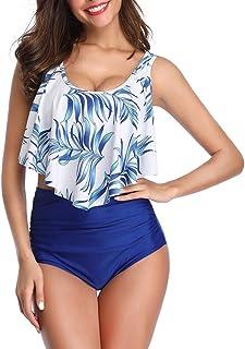 Reciy - Traje de baño para mujer, bikini con top de cuello halter y bragas de talle alto