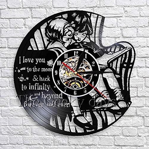 Usmnxo I Love You to The Moon Beyond Forever Reloj de Vinilo Inspirador decoración de la Pared del Cuarto de niños LED con luz 12 Pulgadas (30 cm)