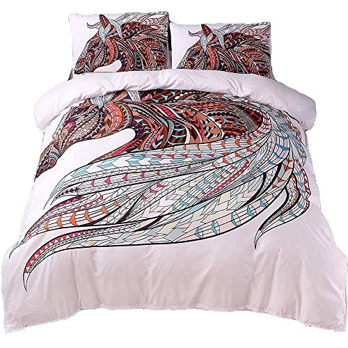 YEVEM Horse Duvet Cover Set White for Teens Adults Twin 3 Piece Bohemian Mandala Animals Printed Boho Bedding Set with 2 Pillowcases (Style 4, Twin)