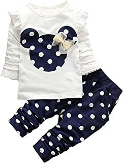 Cute Toddler Baby Girls Clothes Set Long Sleeve T-Shirt and Pants Kids 2pcs Outfits