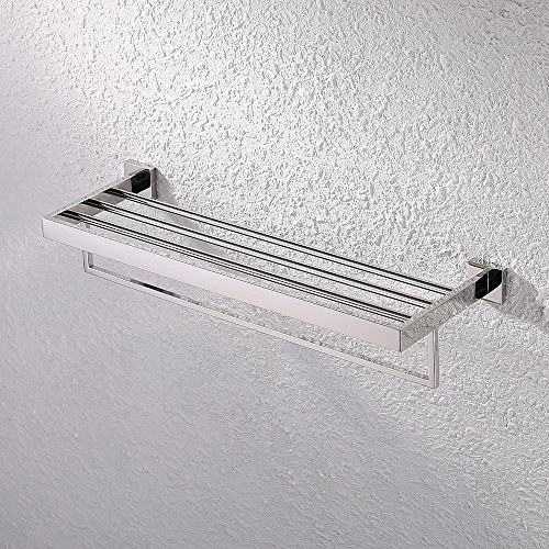 KES Bathroom Lavatory Double Bathroom Shelf Towel Rack Wall Mount Square, Polished Stainless Steel, A2510