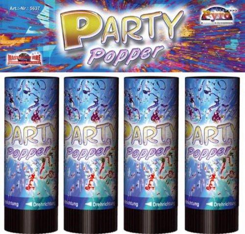 Party Popper 4er-Beutel ca.10 cm, 1 Set