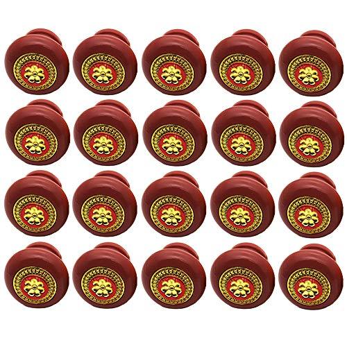 Yyuezhi 20-delige set vintage lade kast pull greep knop meubelknop kast knoppen meubelknoppen deurknop vintage shabby chic stijl voor kast lade, handgrepen om op te trekken met decoratie rood