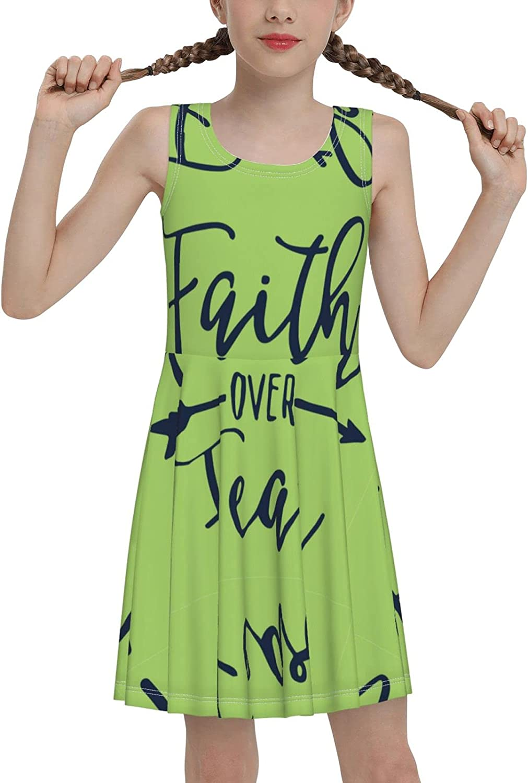 Faith Over Fear Sleeveless Dress for Girls Casual Printed Lightweight Skirt