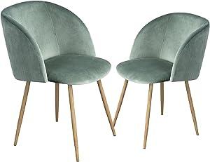 EGGREE 2 Sedie da Pranzo in Morbido Velluto, Seduta e Schienale Imbottiti con Gambe in Metallo Stile Legno Poltrona Velluto Vintage, Verde