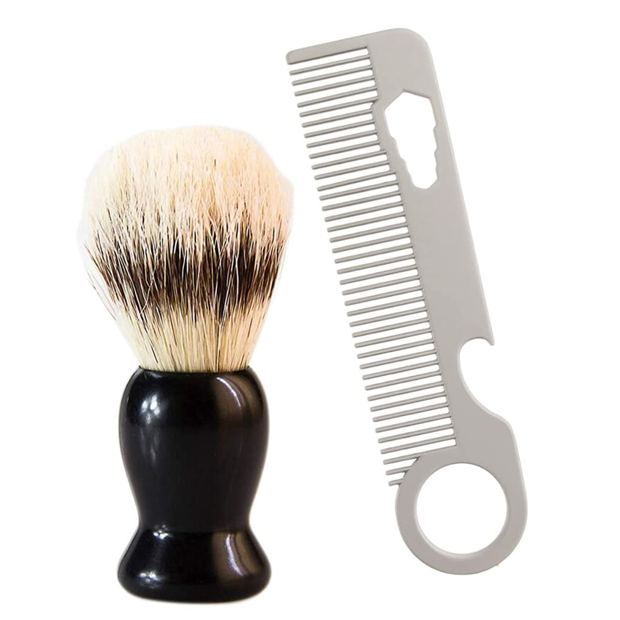処分したジャグリング思慮のないFLAMEER メンズ シェービングブラシ サロン 髭剃り ステンレス ひげ剃り櫛 ビアードコーム 使いやすい 高級