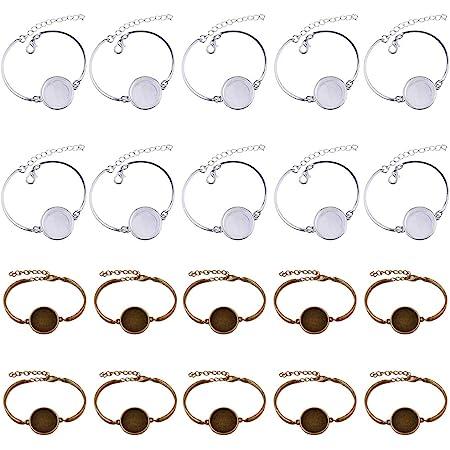 Braccialetto rigido con lunetta vuota rotonda per cabochon, regolabile, per lavori creativi e realizzazione di gioielli 20 pezzi.
