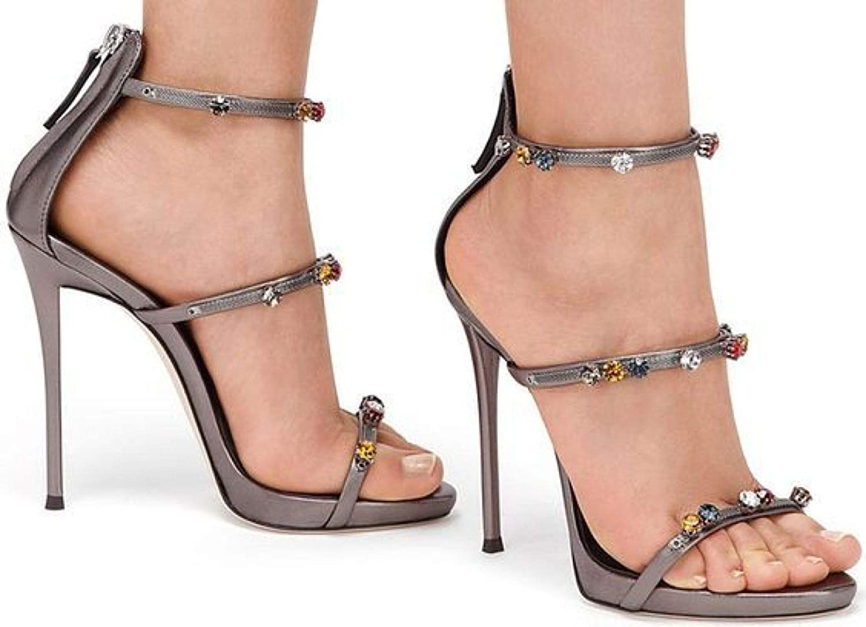 Einfarbig Wildleder Einfach Einfach Strass Hoher Absatz Sandalen,Offener Zeh Stiefelies Pfennigabsatz High Heels Frau Kupfer   41  genieße 50% Rabatt