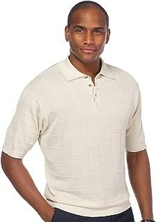 Paul Fredrick Men's Silk Grid Pattern Dine Gage Polo Collar Sweater