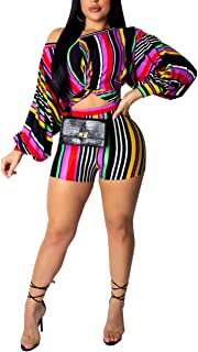 Womens Sexy 2 Piece Outfits Color Block Stripe Print Puff Sleeve Top and Hot Shorts Set Romper