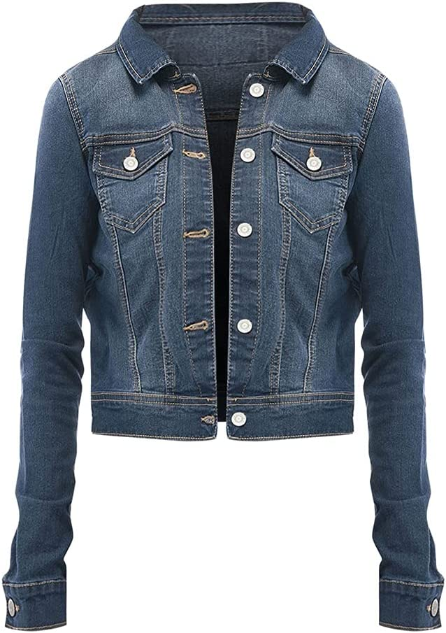 CDQYA Jeans Jacket Women Winter Simple Basic New Slim Stretch Sexy Slim Ripped Female Coat Autumn Casual Fashion Denim Coat (Color : Blue, Size : XL Code)