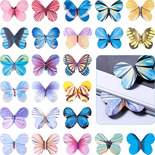24 Pieces Magnetic Bookmarks Page Clip Magnet Butterfly Book Page Markers Magnetic Butterfly Bookmark Cute Book Marks for Kids, Students Reading, Office Stationery Supplies, Presents