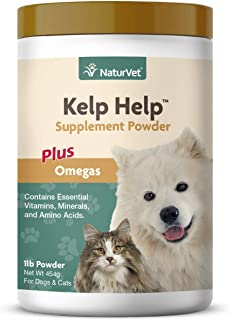 NaturVet – Kelp Help Supplement Powder - Plus Omegas – Supports Healthy Skin & Glossy Coat – Enhanced with Essential Vitamins, Minerals & Amino Acids – for Dogs & Cats