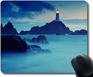 Yanteng Natural Rubber Mouse Pad Printed with Cloud sky island ocean -Stitched Edges