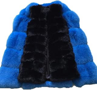 90 cm Medium Long Artifical Fox Fur Vest Women Winter Woman Warm