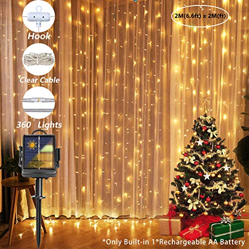 200 LED Solar & Battery Operated Curtain String Lights with Hook, 2M x 2M Outdoor Fence String Lights with 8 Modes & IP65 Waterproof, Waterfall Light for Bedroom, Garden and Wedding (Warm White)