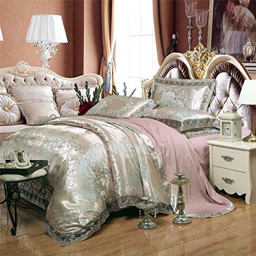 BB.er Tencel jacquard été ensembles de literie de doux et lisse coton satin home textile literie collection, argent rose, 220X240cm