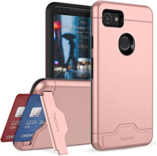 Teelevo Wallet Case for Google Pixel 2 XL - Dual Layer Case with Card Slot Holder and Kickstand for Google Pixel 2 XL (2017) - Rose Gold