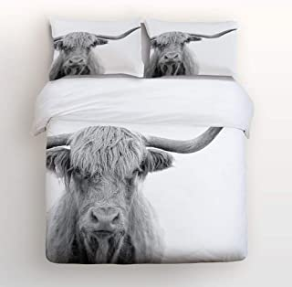 MIGAGA Full Size 4 Pcs Duvet Cover Sets for Kids Girls Boys Beding Sets,Grey Animal Highland Cow Pattern Bed Sheet Set,Include 1 Comforter Cover 1 Bed Sheets 2 Pillow Cases