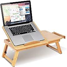 Laptopbureau, in hoogte verstelbaar, bamboe, laptopstandaard, in hoogte verstelbaar, laptoptafel, bedlade, ontbijttafel, l...