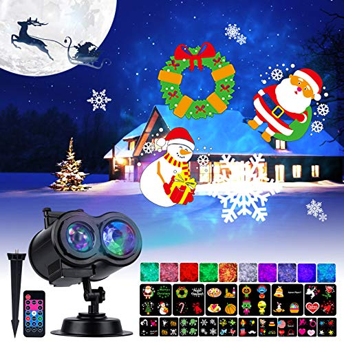 Christmas Projector Lights Outdoor 26 HD Effects (10 3D Ocean Wave + 16 Patterns) with RF Remote Timer Landscape Projector for All Year Round Holiday Disco Party Daily Life (RGBW + Multicolor)