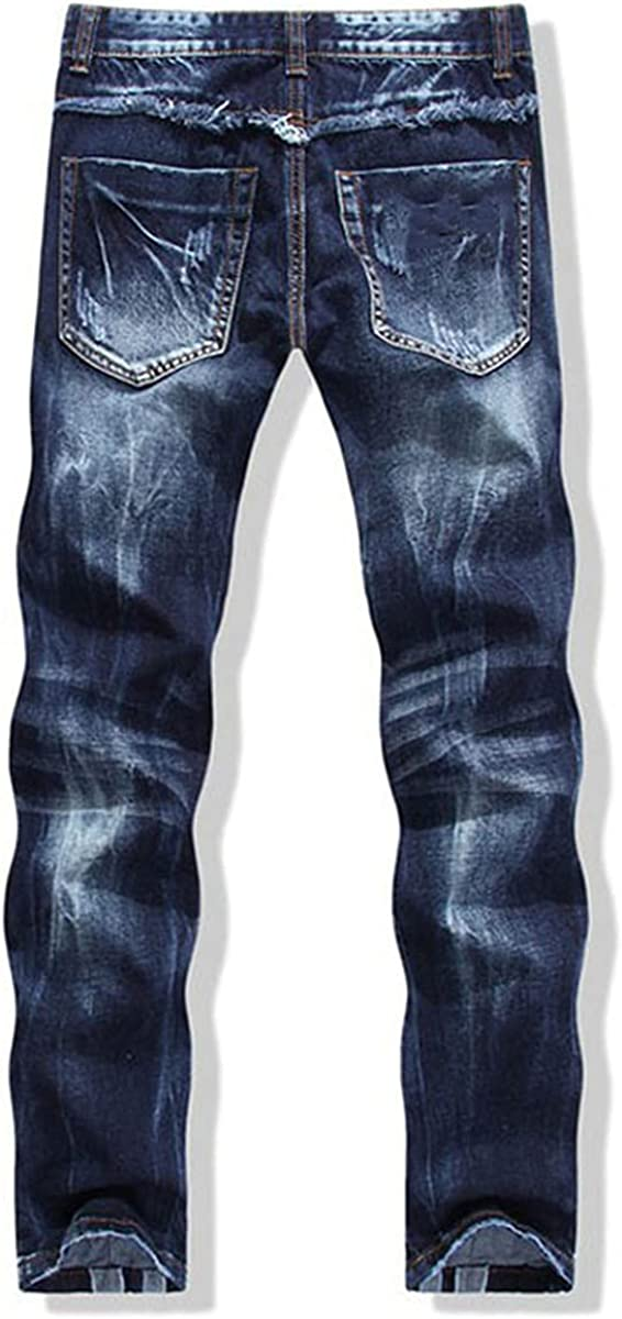 CACLSL Men's Fashion Patchwork Stitching Ripped Jeans Men's Personality Leather Rivet Slim Straight Jeans
