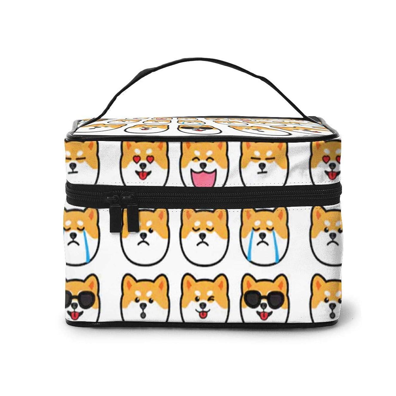 売上高猫背牧師Sharing Life 柴犬柄 メイクボックス 化粧ポーチ メイクブラシバッグ トラベルポーチ 化粧品収納ケース 機能的 大容量 かわいい 小物整理 収納