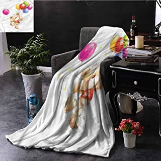 EDZEL Lightweight Plush Throw Blankets Cartoon Teddy Bear with Baloon Fall Winter Spring Living Room 84x54 Inch
