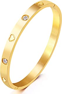 Jewelry Gold/White Gold Plated Bangle Bracelet Heart Stone Stainless Steel with Crystal Bangle Bracelets for Women Jewelry Size 6.7 Inches