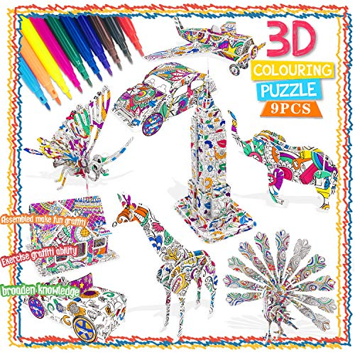 Art and Crafts Kit for Kids Girls Boys, Toys Gifts for 4 -11 Year Olds Girls 3D Puzzles for Kids Art Supplies Gift for 5-12 Year Old Kid Child Birthday Gift Educational art kits for kids 8 9 10 11 12