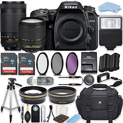 Nikon D7500 20.9 MP DSLR Camera (Black) with Nikon AF-S DX NIKKOR 18-140mm f/3.5-5.6G ED VR Lens + AF-P DX NIKKOR 70-300mm f/4.5-6.3G ED VR Lens Bundle Includes 64GB Memory, Professional Accessories