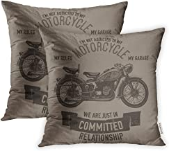 Emvency Set of 2 Throw Pillow Covers Cases Vintage Hand Drawn Motorcycle Quote Biker Garage Ink Lettering Logotype Old Parts 16x16(40cmX40cm) Case Cushion Cover Bed Couch