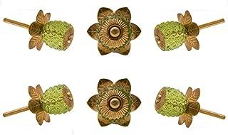 Set of 6 Cabinet Knobs Glass Berry Olive Green Handmade Drawer Pull Diameter 1.8