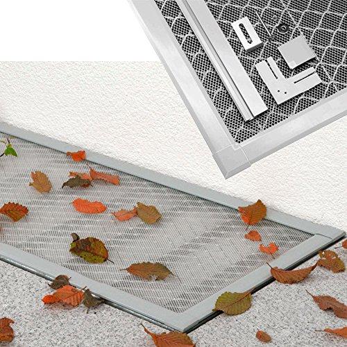 DILUMA Lichtschachtabdeckung Basic 115 x 60 cm Lellerschachtabdeckung mit ALU Rahmen + Eva Gewebe individuell kürzbares Schutzgitter, einfache Montage ohne Bohren