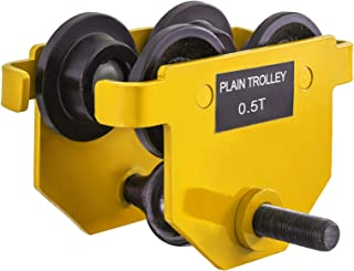 BestEquip Heavy Duty Manual Trolley 0.5 Ton Capacity Plain Trolley 1100LBS Push Beam Track Roller Trolley Crane Lift Dual Wheels Garage Hoist for Straight Curved I Beam
