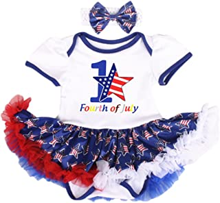 OBEEII 4th of July Baby Toddler Girl American Flag Romper Tutu Dress Headband Leg Warmers Shoes Clothes Outfits