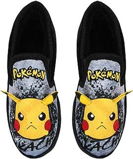 Pikachu Pokemon Graffiti Face Kid's Grey Marl Loafer Slippers