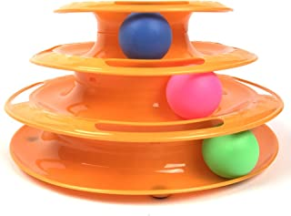 Irispets interactive Cat Toy, three layer colorful Cat track tower toy – Great for multiple cats