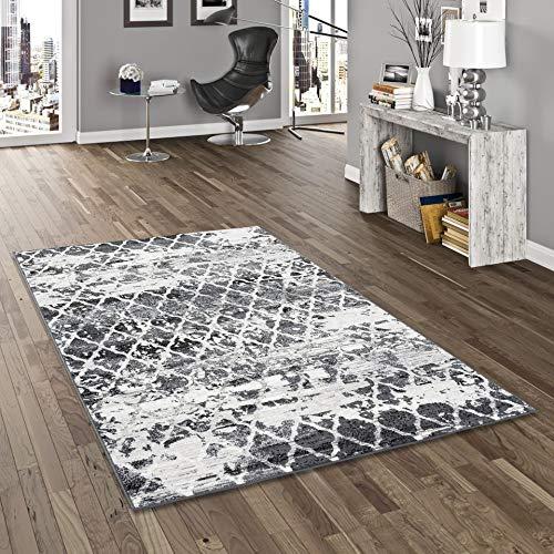 Pergamon Designer Teppich Samba Grau Anthrazit Vintage Trend in 5 Größen