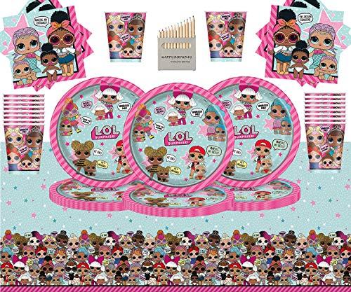 Kids Surprise Party Pack Vajilla de cumpleaños para niños 49 Piezas Suministros de Fiesta LOL Sirve 16- Platos LOL Copas Servilletas Cubierta de Mesa