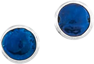 Cobalt Blue Coin Freshwater Cultured Pearl 925 Sterling Silver Post Earrings, 9/16