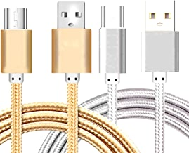 [2Pack] iEugen Micro USB Cable, 5 Ft Micro USB Fast Charging Cord Charging Nylon Braided Replacement High Speed Data Sync Charger Compatible with Kindle Touch 2011 Kindle Fire Keyboard-Gold+Silver