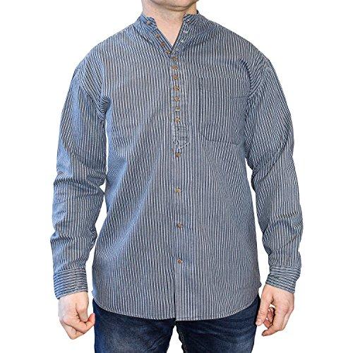 NADUR Stehkragenhemd - Irisches Stehkragenhemd - New Stripe (M)