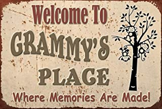 Pet Project Novelty Signs Welcome to Grammy's Place Where Memories - 9 inch by 6 inch MDF Composite Wood Novelty Sign Ships from Cornwall, Ontario, Canada. Comes with a Cord Attached. Home Decor
