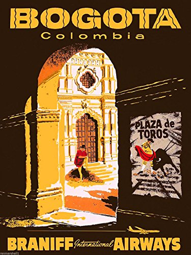 Póster de Bogotá Colombia América del Sur América del Sur, diseño vintage publicitario de viaje coleccionable, para decoración de pared, 25,4 x 34,3 cm