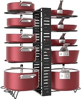 X-cosrack Étagère à casseroles, 10 niveaux de hauteur réglable avec pieds antidérapants, 6 dispositions, extensible - pour...