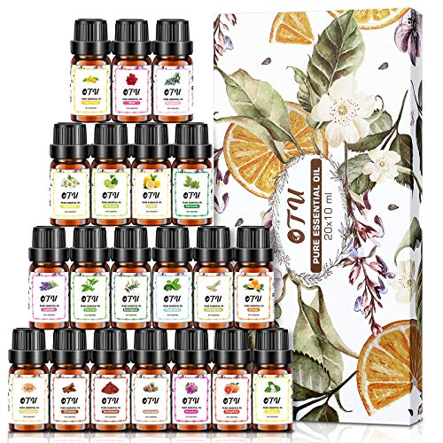 Essential Oils - 100% Pure Therapeutic Grade Oils kit- Top 20 x 10ML Aromatherapy Oils Gift Set-20 Pack, Aromatherapy Oils Premium Fragrance Oil Organic Pure for Diffuser Yoga Massage & DIY