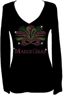 Mardi Gras Mask Rhinestone New Orleans Womens V Neck Long Sleeve Tee Shirt
