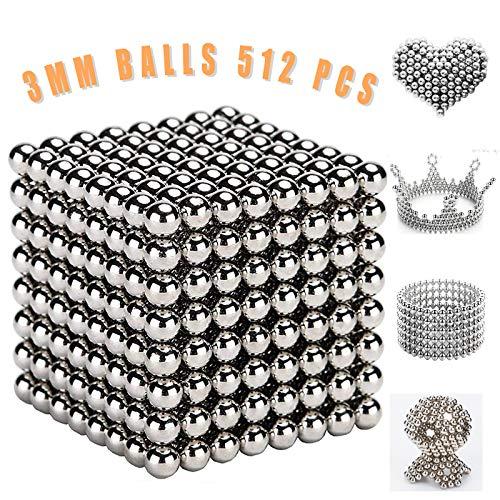MBTRY Bolas de juguete, bolas de plata fidget de 3 mm, 512 piezas para aliviar el estrés, manualidades decoración de juguetes táctiles