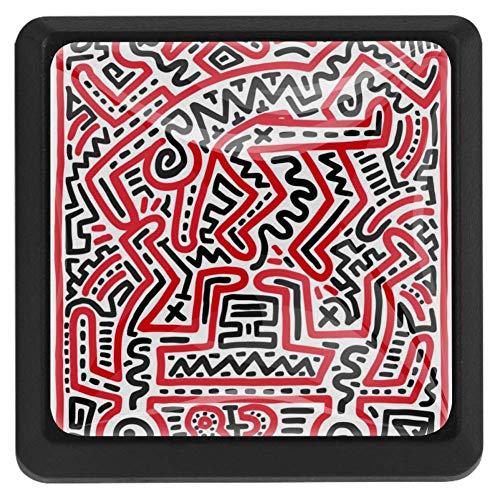 EZIOLY Lustige Galerie-Knöpfe, quadratisch, für Küchenschränke, Schränke, Kommode, Schrankknöpfe, Schubladengriffe, Hardware, 3 Stück